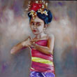 Balinese girl with gong